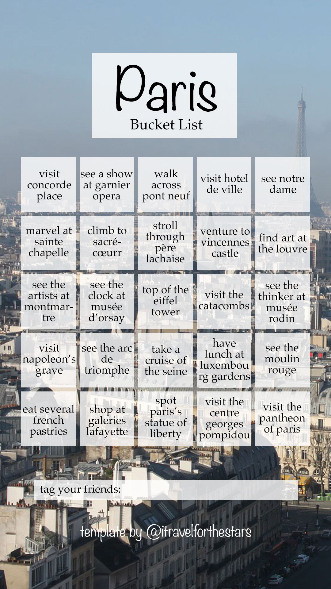 Paris Bucket List for Instagram