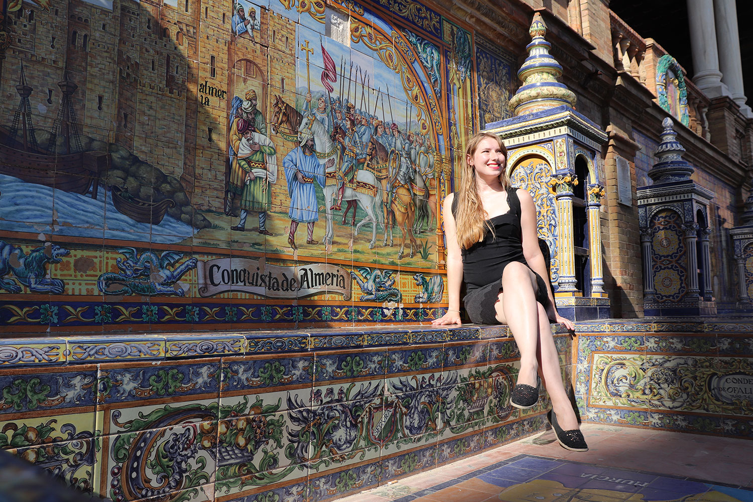 Me in one of the alcoves, Plaza de Espana, Seville