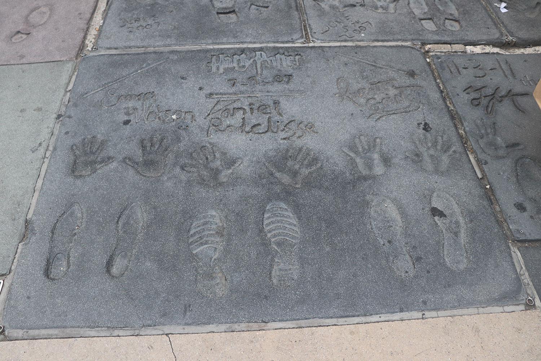Harry Potter Golden Trio Concrete Handprints, Los Angeles, California