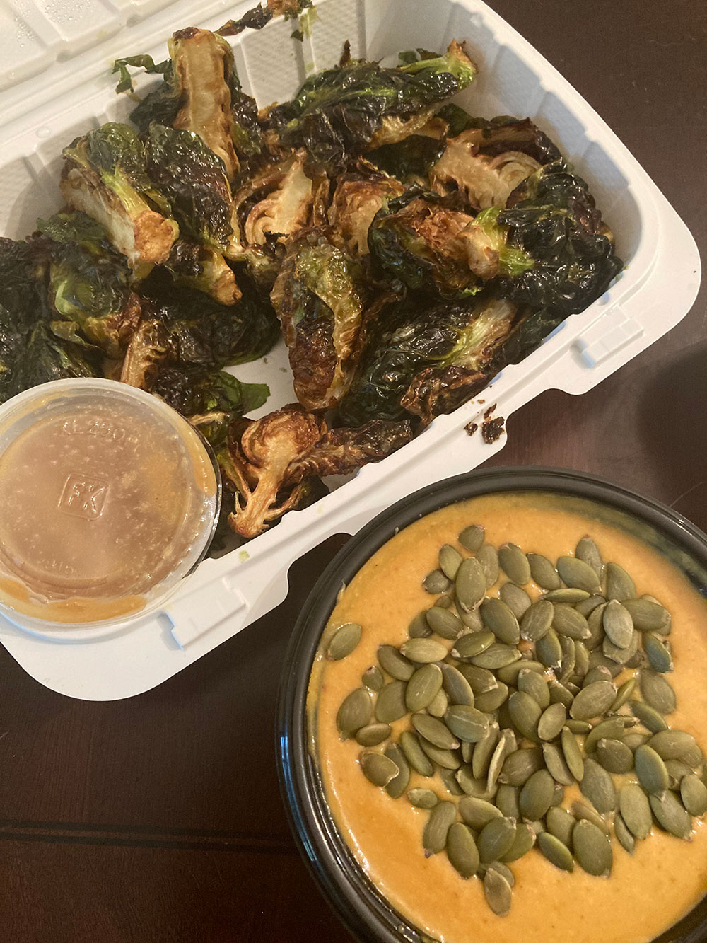 Vegan brussel sprouts and pumpkin curry soup by Golden West Cafe